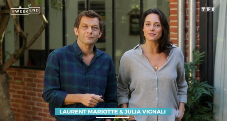 week end tf1 julia vignali et laurent mariotte en hausse face pop up sur c8 toutelatele. Black Bedroom Furniture Sets. Home Design Ideas