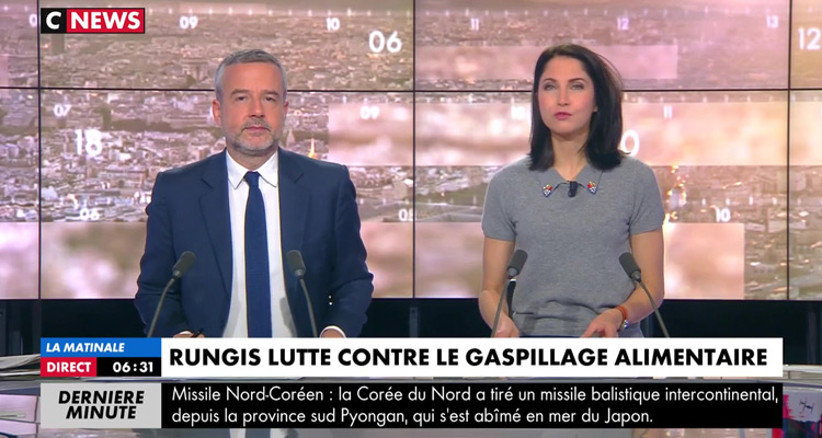 Matinale de CNews : audiences au rendez-vous Romain Desarbres et Clélie Mathias, devant LCI