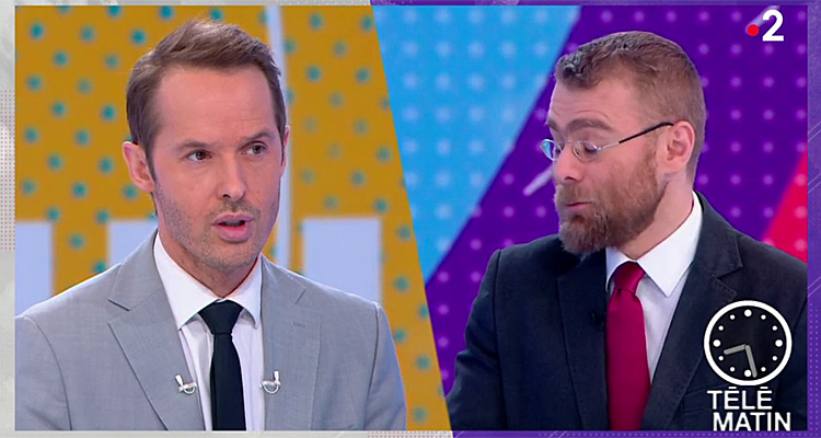 t l matin damien th venot taquin par les jo france 2 en baisse d audience toutelatele. Black Bedroom Furniture Sets. Home Design Ideas